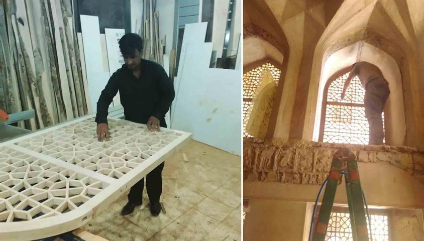 مرمت سازه های چوبی و تزئینی عمارت کاخ هشت بهشت اصفهان آغاز شد